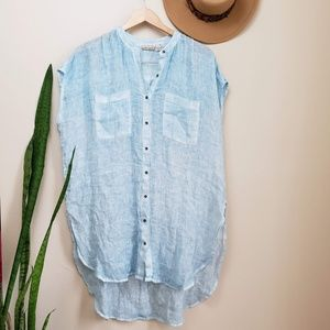 Anthro Holding Horses Linen Tunic Blue Top